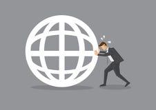 Businessman Pushing a Globe Symbol Royalty Free Stock Photography