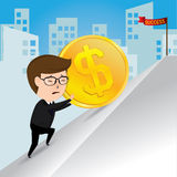 Businessman pushing a gold coins uphill, business concept, vector Royalty Free Stock Images