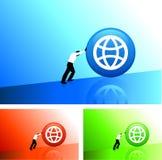 businessman pushing icon uphill Stock Image