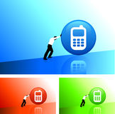 Businessman pushing icon uphill. Original Vector Illustration: AI8 compatible stock illustration