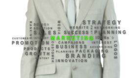 Businessman pushing the marketing button stock footage