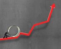 Businessman pushing money circle on growing red arrow Royalty Free Stock Photos