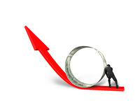 Businessman pushing money circle on growing red arrow Royalty Free Stock Images