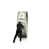 Businessman pushing money circle  in white background Royalty Free Stock Photography