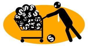 Businessman pushing money trolley. Businessman pushing a full trolley of money balls Stock Photo