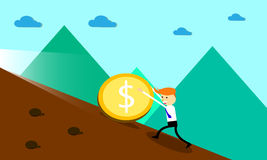Businessman pushing money uphill for success. Royalty Free Stock Photography