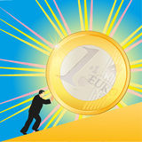 Businessman pushing shining Euro coin. Picture of usinessman pushing shining Euro coin royalty free illustration