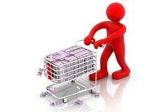 Businessman pushing a shopping cart Stock Photography