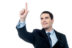 Businessman pushing tactile button Stock Image