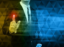 Businessman pushing a touch screen interface Royalty Free Stock Photography