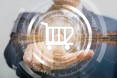 Businessman are pushing on touch screen. Technology and ecommerce comcept Stock Photography
