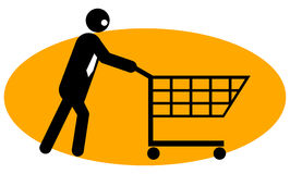 Businessman pushing trolley Stock Image