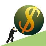 Businessman pushing US Dollar symbol. Businessman pushing big US Dollar symbol Royalty Free Stock Photography