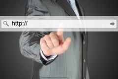 Businessman pushing virtual search bar Royalty Free Stock Photography