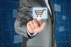 Businessman pushing virtual shopping button. On digital background Royalty Free Stock Photos