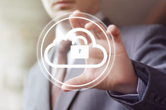 Businessman pushing web button cloud lock web Stock Photography