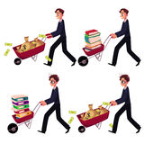Businessman pushing wheelbarrow full of money bags, book, document folders. Set of happy and worried businessmen pushing wheelbarrows full of money bags, book Royalty Free Stock Photography