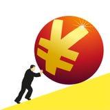 Businessman pushing Yuan symbol. Businessman pushing big Yuan symbol Royalty Free Stock Photo