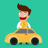 Businessman putting coin inside the car, investing money in the car, Investment concept. Stock Image