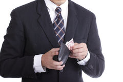 Businessman putting dollar money for pay something Stock Photos