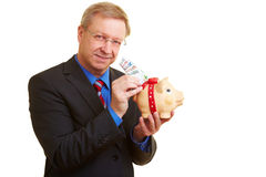 Businessman putting Euro in piggy stock image