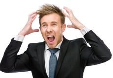Businessman putting hands on head shouts Royalty Free Stock Photo
