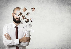 Businessman puzzle royalty free stock photography