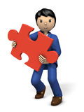 A businessman with a puzzle piece. 3D illustration Royalty Free Stock Image