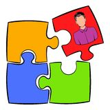 Businessman in a puzzle piece icon cartoon. Businessman in a puzzle piece icon in cartoon style isolated vector illustration Stock Images