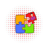 Businessman in a puzzle piece icon, comics style. Businessman in a puzzle piece icon in comics style on a white background Royalty Free Stock Photography
