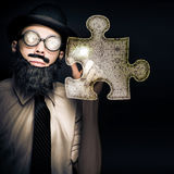 Businessman Puzzle Solving With Digital Solutions Stock Image