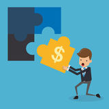 Businessman and Puzzles. Business and Finance Concept, Vector Illustration Flat Style. Stock Image