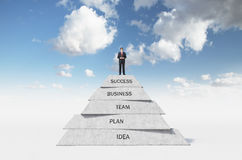 Businessman on pyramid Stock Images