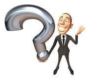 Businessman with a question. 3d generated picture Royalty Free Stock Photo