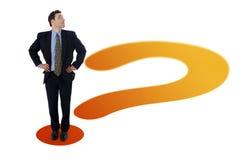 Businessman on question mark royalty free illustration