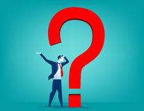 Businessman with question mark. Concept business illustration. Vector flat Stock Photos