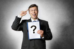 Businessman with question mark Royalty Free Stock Photography
