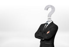 Businessman with question mark instead of head. Royalty Free Stock Image