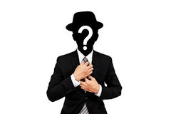Businessman with question mark on head, isolated on white background Stock Images