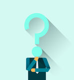 Businessman with Question Mark Head Royalty Free Stock Image