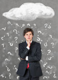 Businessman and question mark Stock Images