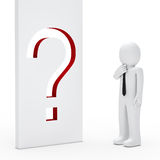 Businessman question mark wall Stock Photography