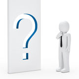 Businessman question mark wall Royalty Free Stock Photography