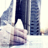 Businessman Questionnaire Cityscape Office Working Concept Royalty Free Stock Image