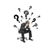 Businessman and questions Stock Photography