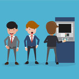 Businessman Queue at the ATM, Hand Inserting Money and Withdrawal. Business and Finance Concept, Vector Illustration Flat Style. Stock Image