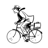 Businessman quickly rides Bicycle line art retro Royalty Free Stock Photography