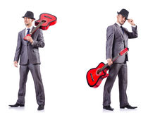 The businessman quitar player isolated on white Royalty Free Stock Images