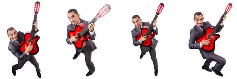 The businessman quitar player isolated on white Stock Photography