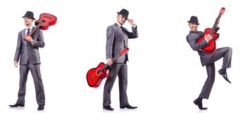 The businessman quitar player isolated on white Stock Photos
